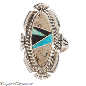 Navajo Native American Turquoise and Jasper Ring Size 5 1/4 by Tom SKU223637