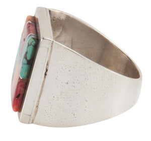 Navajo Native American Turquoise and Shell Inlay Ring Size 11 SKU223653
