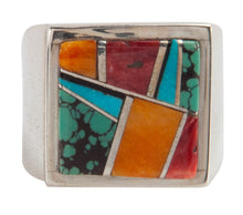 Load image into Gallery viewer, Navajo Native American Turquoise and Shell Inlay Ring Size 11 SKU223653