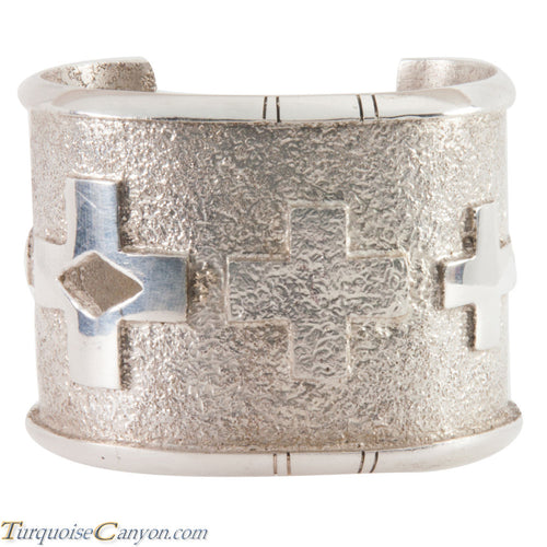 Navajo Silver Spanish Cross Tufa Cast Bracelet by Jason Begay SKU223733