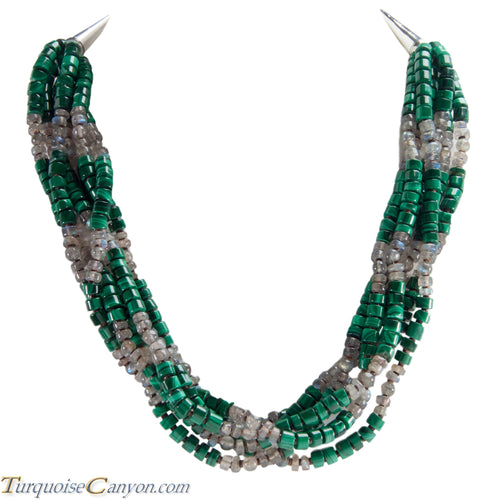Navajo Native American Malachite and Labradorite Six Strand Necklace SKU223971