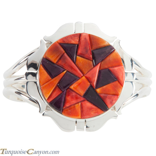 Navajo Native American Orange and Purple Shell Bracelet by Lewis SKU224133