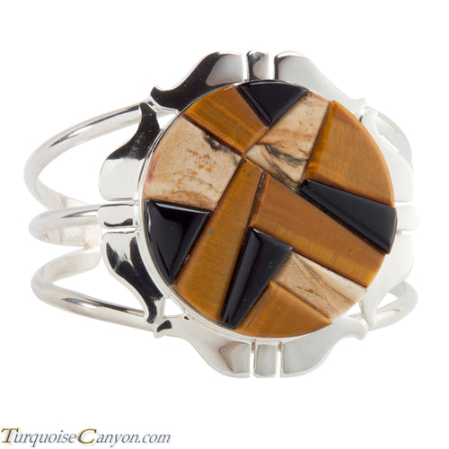 Navajo Native American Tiger Eye  and Onyx Bracelet by Lewis SKU224134