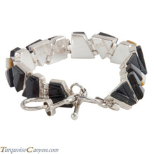 Load image into Gallery viewer, Navajo Native American Onyx and Mother of Pearl Link Bracelet SKU224150