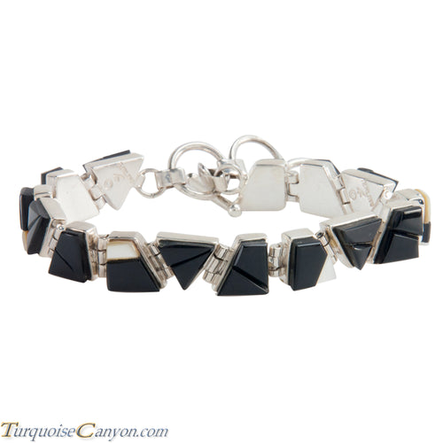 Navajo Native American Onyx and Mother of Pearl Link Bracelet SKU224150