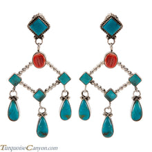 Load image into Gallery viewer, Navajo Native American Kingman Mine Turquoise Earrings by Willeto SKU224330