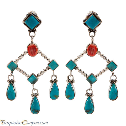 Navajo Native American Kingman Mine Turquoise Earrings by Willeto SKU224330