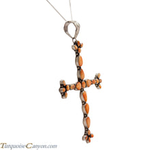 Load image into Gallery viewer, Navajo Native American Orange Shell Cross Pendant and Necklace SKU224367
