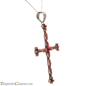 Navajo Native American Orange Shell Cross Pendant Necklace SKU224368