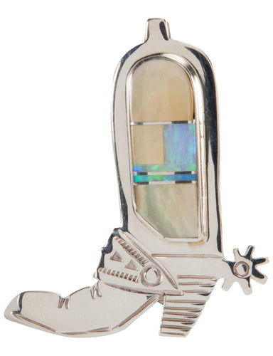 Navajo Native American Western Boot Pin Pendant w Lab Opal & Shell SKU224433