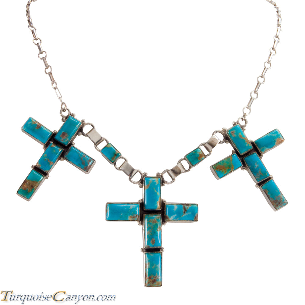 Navajo Native American Kingman Turquoise Cross Necklace by Jaque SKU224525