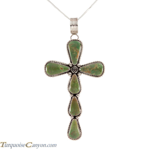 Navajo Native American Royston Turquoise Cross Pendant Necklace SKU224536