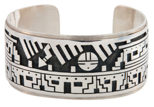 Hopi Native American Sterling Silver Pueblo Bracelet by Clifton Mowa SKU224774