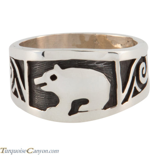 Hopi Native American Bear Silver Ring Size 9 3/4 by Cyrus Josytewa SKU224815