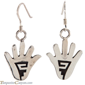 Hopi Native American Anasazi Hand Design Earrings by Cyrus Josytewa SKU224909
