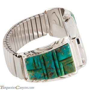 Navao Native American Kingman Turquoise Watch Tips by Johnny Johnson SKU224922