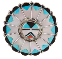Load image into Gallery viewer, Zuni Native American Turquoise Sunface Pin Pendant by Benji Tzuni SKU224991