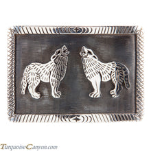 Load image into Gallery viewer, Hopi Native American Coyote Silver Belt Buckle by Clement Honie SKU224997
