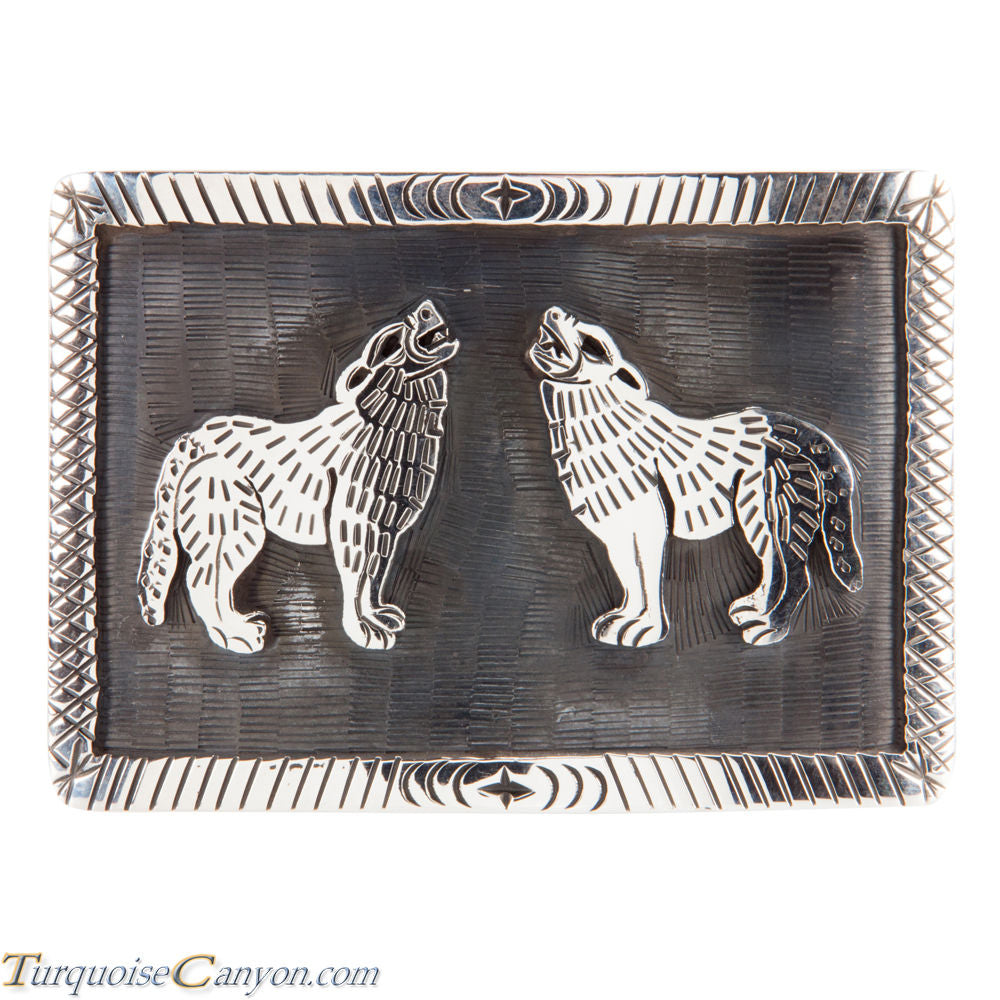 Hopi Native American Coyote Silver Belt Buckle by Clement Honie SKU224997