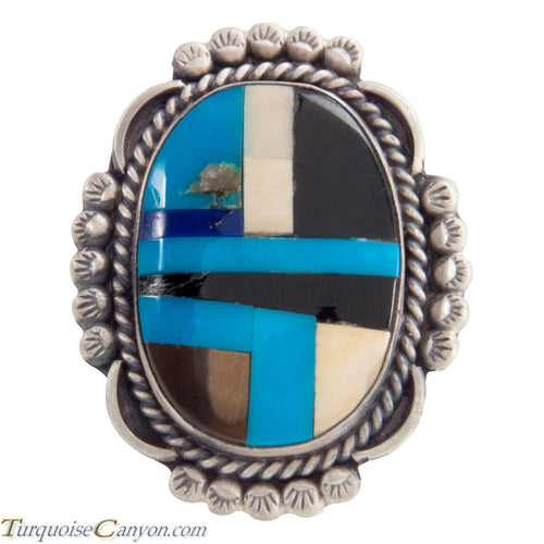 Navajo Native American Turquoise Inlay Ring Size 8 by Willeto SKU225112