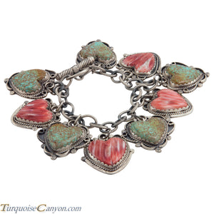 Navajo Native American Turquoise and Orange Shell Bracelet Willeto SKU225193