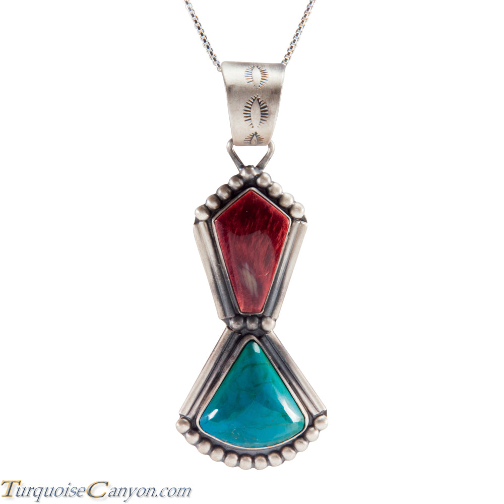 Navajo Native American Purple Shell Chrysocolla Pendant Necklace SKU225216