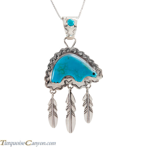 Navajo Native American Turquoise Mountain Bear Pendant Necklace SKU225225