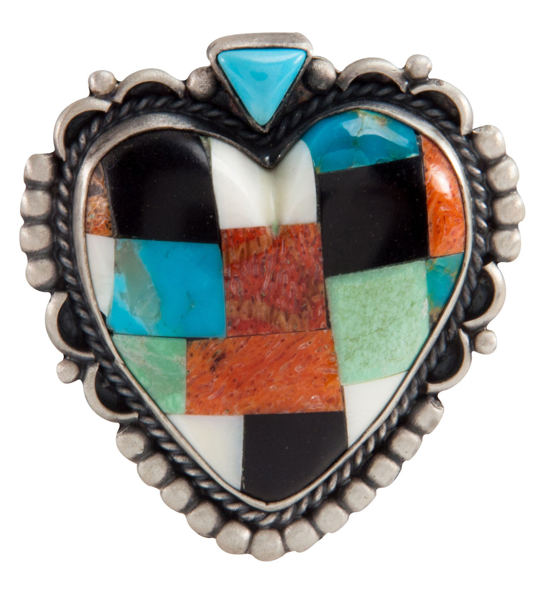 Isleta Pueblo Native American Turquoise Inlay Heart Pin and Pendant SKU225231