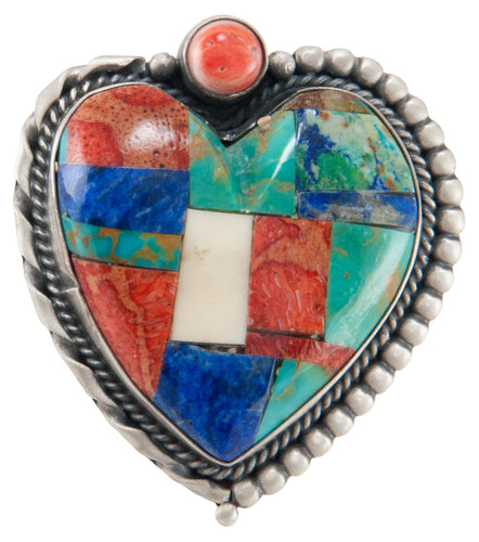 Isleta Pueblo Native American Turquoise Inlay Heart Pin and Pendant SKU225232