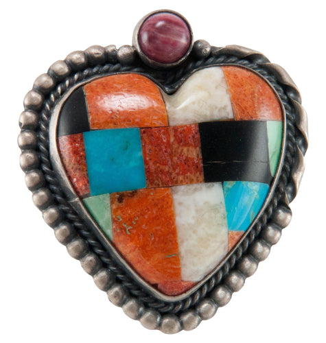 Isleta Pueblo Native American Turquoise Inlay Heart Pin and Pendant SKU225233