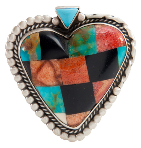 Isleta Pueblo Native American Turquoise Inlay Heart Pin and Pendant SKU225234