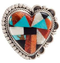 Load image into Gallery viewer, Navajo Native American Turquoise Inlay Heart Pin and Pendant SKU225237