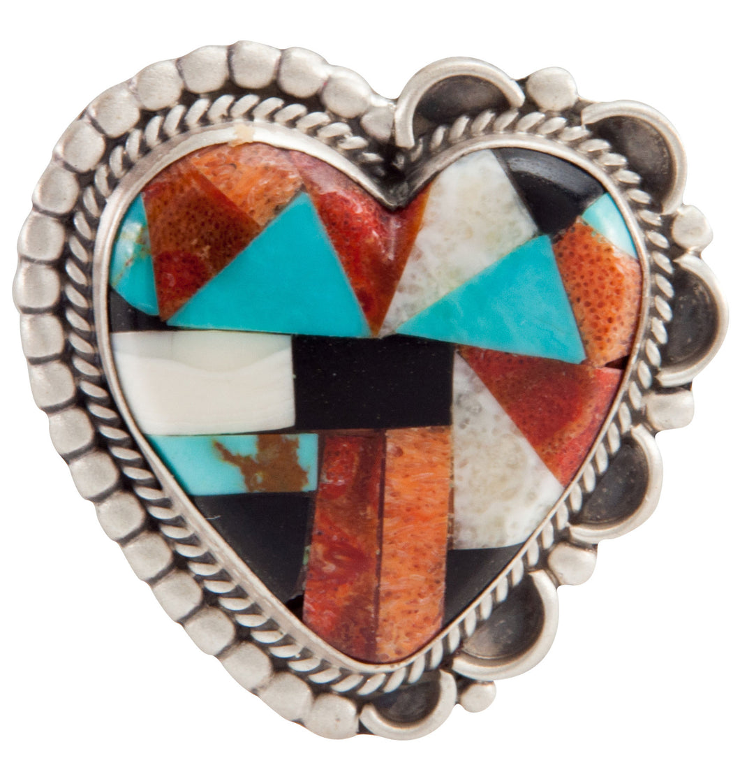 Navajo Native American Turquoise Inlay Heart Pin and Pendant SKU225237