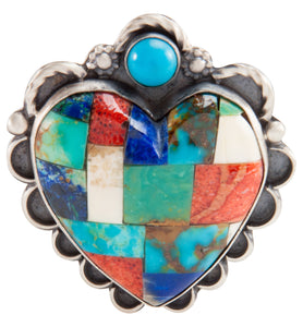 Navajo Native American Turquoise Inlay Heart Pin and Pendant SKU225238