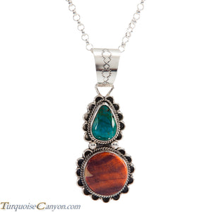 Navajo Native American Chrysocolla and Orange Shell Pendant Necklace SKU225275