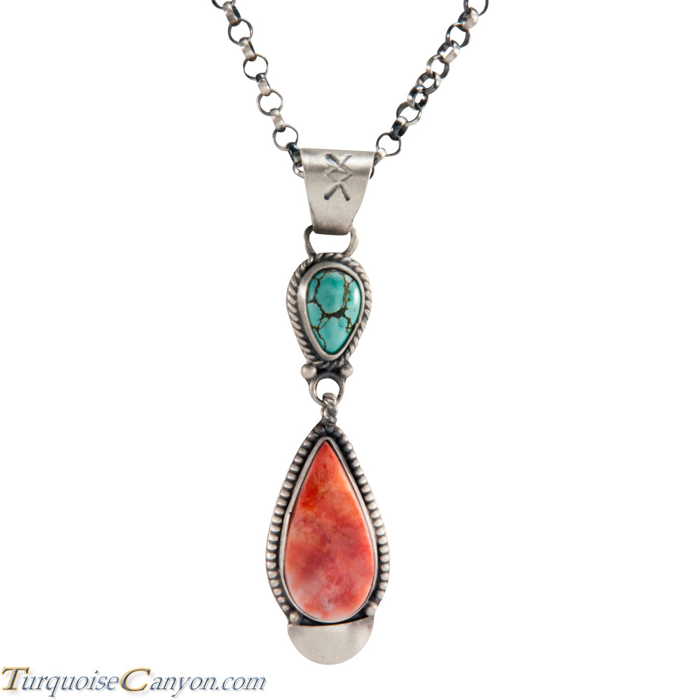 Navajo Native American Orange Shell and Turquoise Pendant Necklace SKU225281