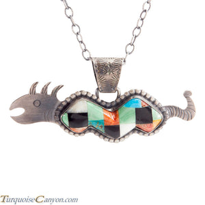 Navajo Native American Serpent Turquoise Inlay Pendant Necklace SKU225295