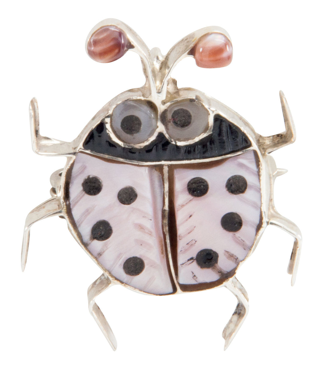 Zuni Native American Pink Shell Ladybug Pin Pendant by Shirley SKU225339