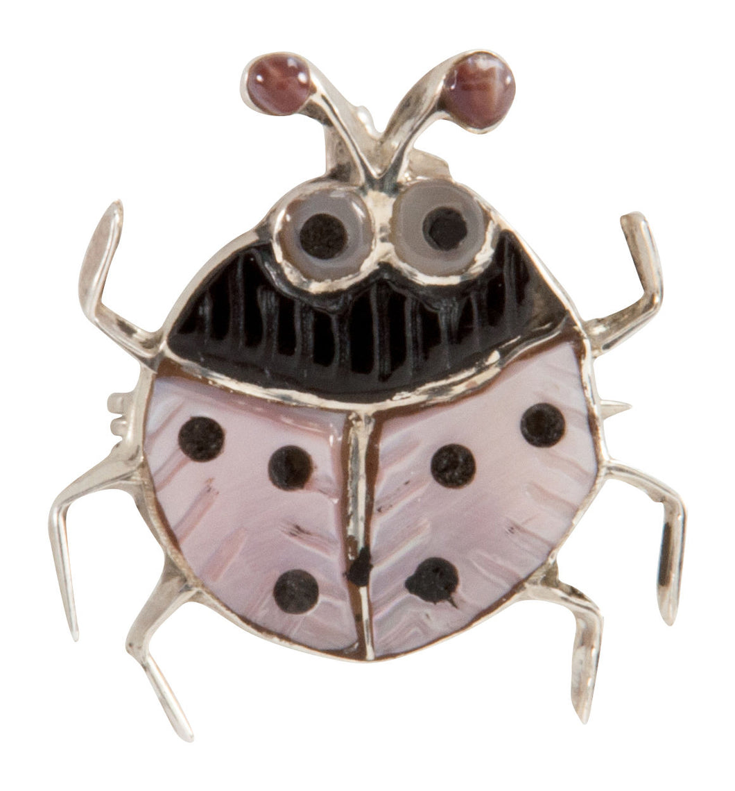 Zuni Native American Pink Shell Ladybug Pin Pendant by Shirley SKU225340