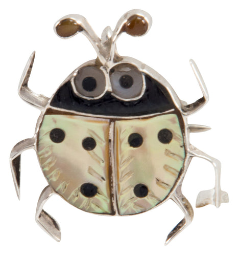 Zuni Native American Yellow Shell Ladybug Pin Pendant by Shirley SKU225341