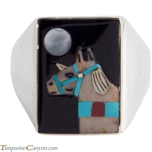 Zuni Native American Turquoise Horse Ring Size 11 3/4 by Concho SKU225360