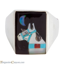 Load image into Gallery viewer, Zuni Native American Turquoise Horse Ring Size 12 3/4 by Concho SKU225361