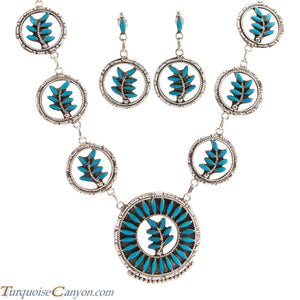 Zuni Native American Turquoise Necklace and Earrings by Etsate SKU225385