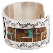 Load image into Gallery viewer, Navajo Native American Tiger Eye Inlay Bracelet by Calvin Peterson SKU225500