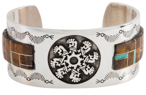 Navajo Native American Tiger Eye Inlay Bracelet by Calvin Peterson SKU225500