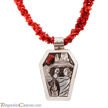 Load image into Gallery viewer, Navajo Native American Red Coral Corn Maiden Necklace by Becenti SKU225543