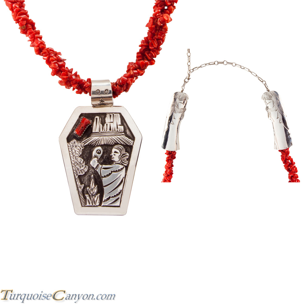 Navajo Native American Red Coral Corn Maiden Necklace by Becenti SKU225543
