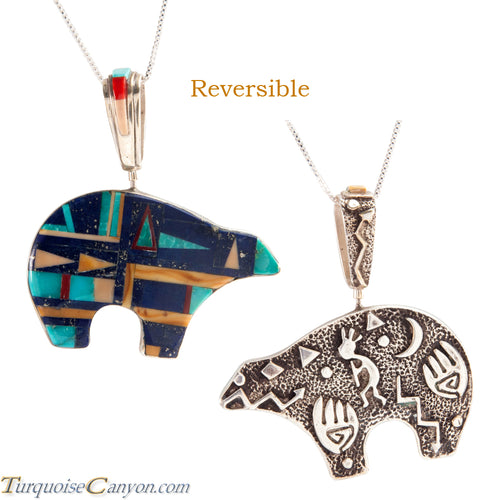 Navajo Native American Turquoise and Lapis Bear Pendant Necklace SKU225551