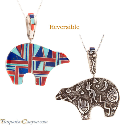 Navajo Native American Turquoise and Lapis Bear Pendant Necklace SKU225552