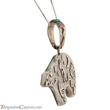 Load image into Gallery viewer, Navajo Native American Turquoise Bear Pendant Necklace SKU225554